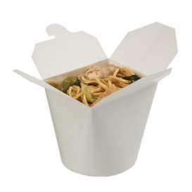 Papieren take-out Container wit 529ml (500 stuks)