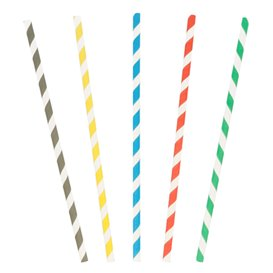 Papieren rechte rietjes gestreept Ø0,6cm 20cm (250 stuks)