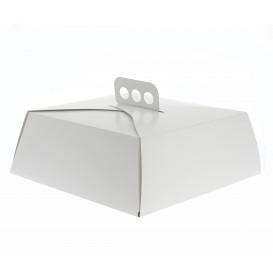Papieren cake doosje Vierkant wit 27,5x27,5x10cm (50 stuks)
