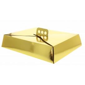 Papieren cake doosje Vierkant goud 26,5x35,5x8cm (50 stuks)