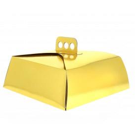 Papieren cake doosje Vierkant goud 27,5x27,5x10cm (50 stuks)
