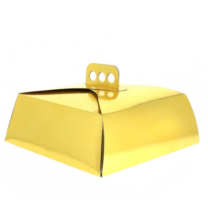 Papieren cake doosje goud Vierkant 30,5x30,5x10cm (50 stuks)