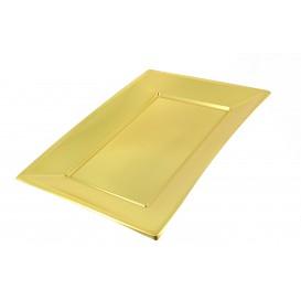 Plastic dienblad goud 33x23cm (12 stuks)