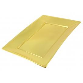 Plastic dienblad goud 33x22,5cm (2 stuks)