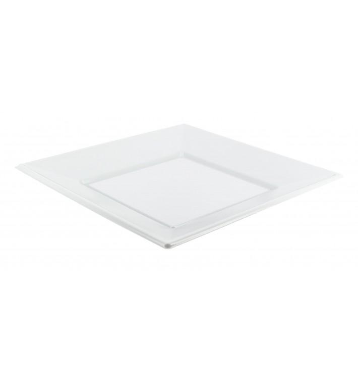 Plastic bord PS Vierkant Plat wit 23 cm (750 stuks)