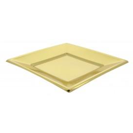 Plastic bord Plat Vierkant goud 18 cm (750 stuks)