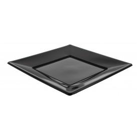 Plastic bord Plat Vierkant zwart 23 cm (5 stuks)