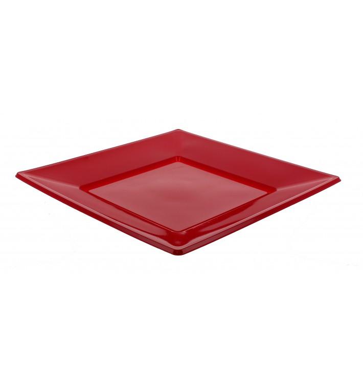 Plastic bord Plat Vierkant bordeauxrood 23 cm (750 stuks)
