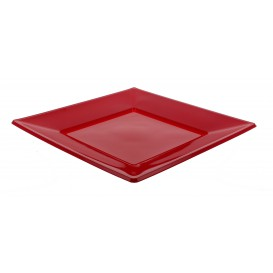 Plastic bord Plat Vierkant bordeauxrood 17 cm (25 stuks)