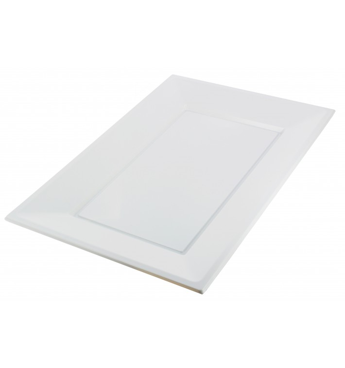 Plastic dienblad wit 33x22,5cm (180 stuks)