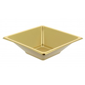 Plastic kom PS Vierkant goud 12x12cm (300 stuks)