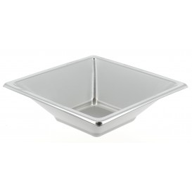 Plastic kom PS Vierkant zilver 12x12cm (5 stuks)