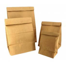 Papieren zak zonder handvat kraft bruin 12+8x24cm (1000 stuks)
