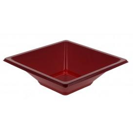Plastic kom PS Vierkant bordeauxrood 12x12cm (1500 stuks)