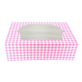 Papieren Cake vorm zak 6 Slot roze 24,3x16,5x7,5cm (20 stuks)