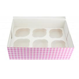 Papieren Cake vorm zak 6 Slots roze 24,3x16,5x7,5cm (100 stuks)