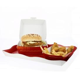 Kartonnen hamburger bakjes XXL 14,5x14,5x8cm (25 stuks)
