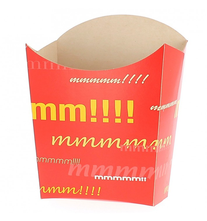 Papieren Container voor frietengroot maat 8,2x3,3x14,9cm (25 stuks)
