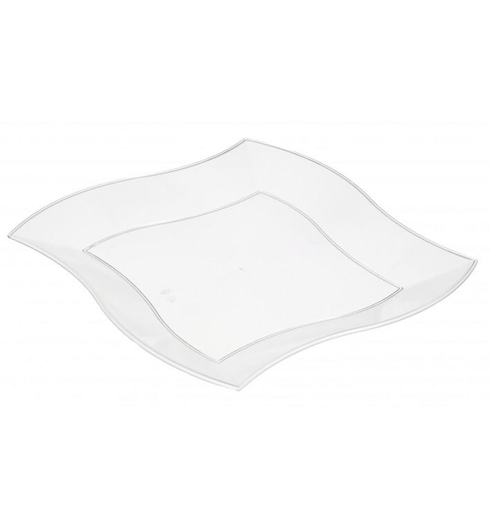 Plastic bord PS Plat Vierkant golfslag wit 18 cm (360 stuks)