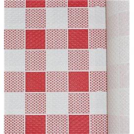 Papieren tafelkleed rol rood Checkers 1x100m. 40g (1 stuk)