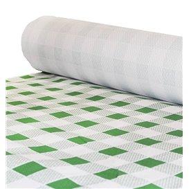 Papieren tafelkleed rol groen Checkers 1x100m. 40g (1 stuk)