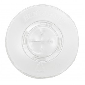 Plastic platte Deksel met kruis PET kristal Ø8,1cm (2000 stuks)