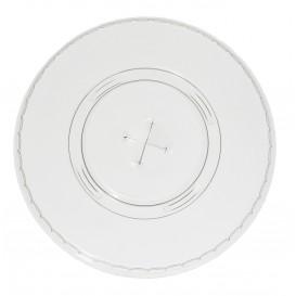 Plastic Deksel met kruis PET Plat Ø9,3cm (100 stuks)