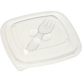 Plastic Deksel voor Kom met Plastic vork 125x125mm (50 stuks)