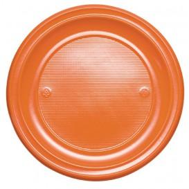 Plastic bord PS Plat oranje Ø22 cm (30 stuks)