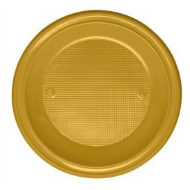 Plastic bord PS Plat goud Ø22 cm (780 stuks)