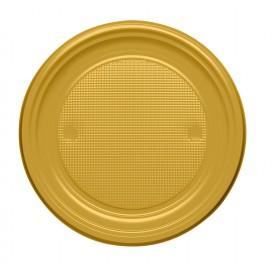 Plastic bord PS Plat goud Ø17 cm (50 stuks)