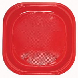 Plastic bord PS Vierkant rood 20x20 cm (1000 stuks)