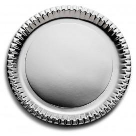 "Papieren bord Rond vormig ""Party"" zilver Ø29cm (6 stuks)"