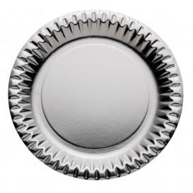 "Papieren bord Rond vormig ""Party"" zilver Ø23cm (10 stuks)"