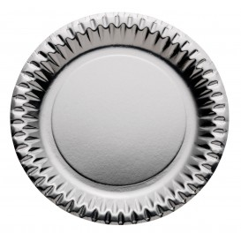 "Papieren bord Rond vormig ""Party"" zilver Ø23cm (300 stuks)"