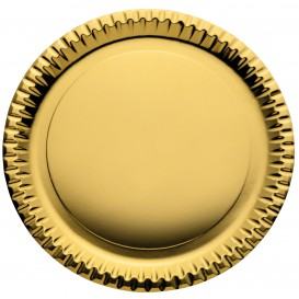 """Papieren bord Rond vormig """"Party"""" goud Ø29cm (6 stuks)"""