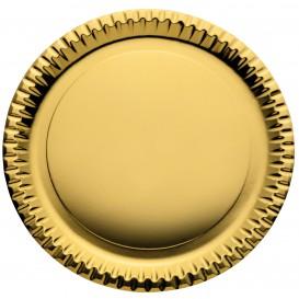 """Papieren bord Rond vormig """"Party"""" goud Ø29cm (60 stuks)"""
