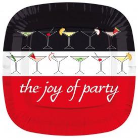 "Papieren bord Vierkant ""Joy of Party"" 17cm (8 stuks)"