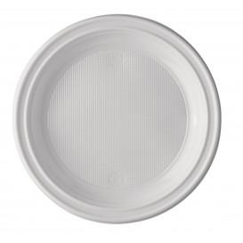 Plastic bord PS Plat wit 20,5 cm (100 stuks)