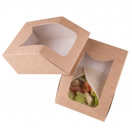 Papieren take-out Container met venster kraft 90x51x12cm (500 stuks)