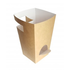 Papieren doos voor etenswaren voor Churros met beker houder kraft 7,8x7,8x17,9cm (500 stuks)