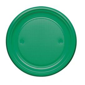 Plato de Plastico PS Llano Verde Ø220mm (30 Uds)
