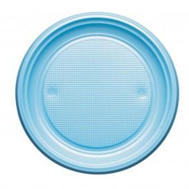 Plastic bord PS Plat lichtblauw Ø22 cm (30 stuks)