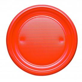 Plastic bord PS Plat oranje Ø17 cm (50 stuks)