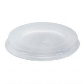 Plastic PS Deksel met rietsleuf wit Plat Ø7,2cm (100 stuks)