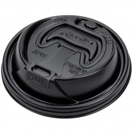 Plastic Deksel PS Resealable zwart Ø9,4cm (100 stuks)