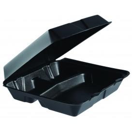 Schuim lunch doos 3 Compartmenten zwart 2,40x2,35cm (200 stuks)