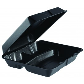 Schuim lunch doos 3 Compartmenten Verwijderbare Deksel zwart 2,40x2,35cm (100 stuks)