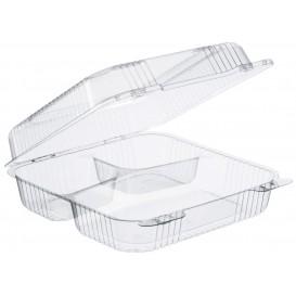 "Plastic scharnierende Deli-Container OPS 3 Compartmenten ""StaenLock"" transparant 1120ml (200 stuks)"