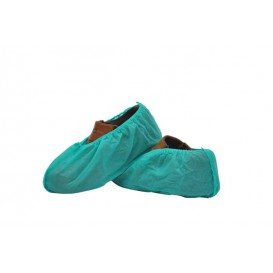 Wegwerp plastic schoen omhulsel PP groen (100 stuks)